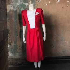 Vintage red and white dress rescue w shoulder pads